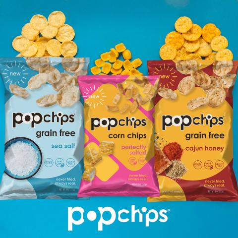 Popchips Grain Free Sea Salt, Popchips Corn Chips Perfectly Salted, Popchips Grain Free Cajun Honey (Photo: Business Wire)