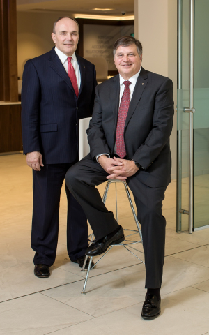 The Boards of Directors of Trustmark Corporation and Trustmark National Bank announced that effective January 1, 2021, Gerard R. Host (right) will become Executive Chairman of Trustmark and Duane A. Dewey (left) will succeed Host as President and CEO of Trustmark Corporation and Trustmark National Bank. (Photo: Business Wire)