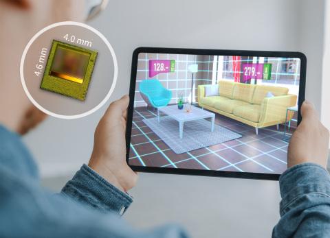 Der neue REAL3 ToF Chip kann in miniaturisierte Kameramodule integriert werden, die eine präzise Bildtiefenmessung im Nah- und Fernbereich für Augmented Reality Anwendungen ermöglichen. (Photo: Business Wire)