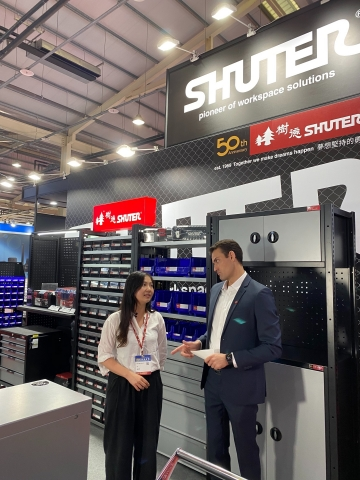Sophia Cheng, Sales Representative of Shuter Enterprise, introducing their booth and quality products. (Photo: Business Wire)