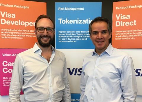 Serge Elkiner, CEO y Fundador de YellowPepper y Eduardo Coello, presidente regional de Visa para América Latina y el Caribe en el Centro de Innovación de Visa en Miami en Octubre 2018.  (Photo: Business Wire)