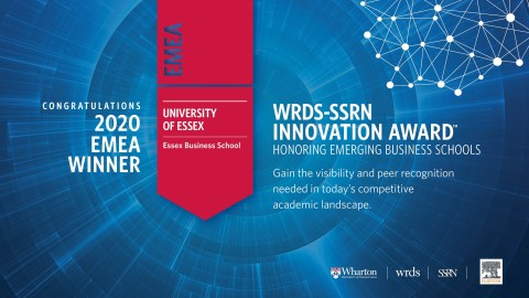 Essex Business School is named the winner of the 2020 WRDS-SSRN Innovation Award for EMEA region. (Graphic: Business Wire)