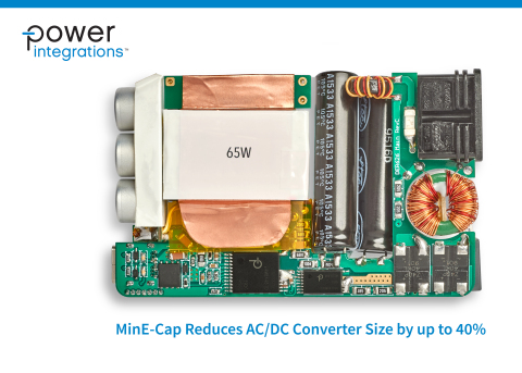 Novel MinE-CAP device dramatically reduces the input bulk capacitor size, reduces in-rush current by up to 95%, eliminates NTC thermistors and associated losses (Photo: Business Wire)
