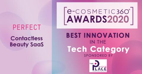 Les solutions innovantes d'essai de maquillage virtuel sans contact de Perfect Corp. ont reçu l'e-cosmetic360 Award dans la catégorie Tech. (Photo: Business Wire)