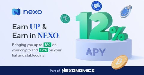 Nexo's newly released Earn UP and Earn in NEXO features deliver interest rates of up to 12% APY to the platform's clients. (Photo: Business Wire)