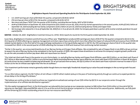 BrightSphere Reports Financial and Operating Results for the Third Quarter