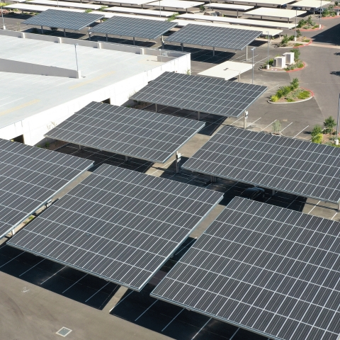 Voya's new Chandler, Arizona, facility was built with environmental sustainability in mind, including nine solar carports expected to offset more than 663,600 kilowatt-hours of electricity in its first year of operation alone. (Photo: Business Wire)