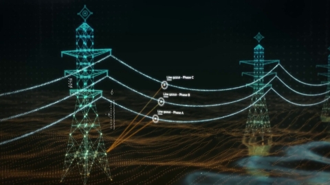 LineVision uses Velodyne high-performance lidar sensors in its V3 overhead power line monitoring system to help electric utilities operate their grid more safely and efficiently. (Graphic: LineVision, Inc.)