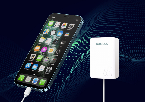 A recently launched smartphone powered by universal, fast charging adapters using Transphorm's GaN FETs. (Photo: Business Wire)