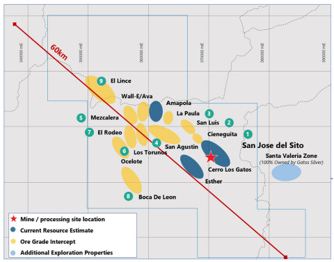 The Los Gatos District (outlined in blue) (Graphic: Business Wire)
