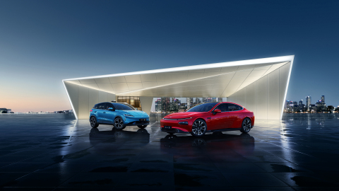 XPeng compact SUV G3 and sports sedan P7 (Photo: Business Wire)
