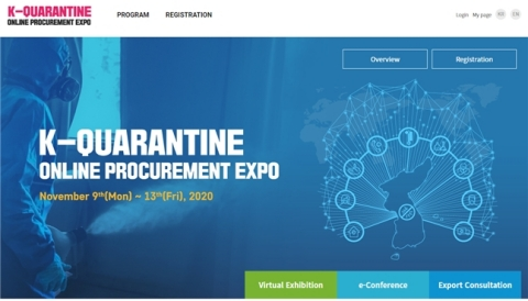 Public Procurement Service and Korea Health Industry Development Institute will host 'K-Quarantine Online Procurement Expo' in a virtual space from November 9th to 13th. This event is prepared to introduce Korea's successful cases of K-quarantine in the COVID-19 crisis and to support domestic companies to explore overseas markets. 112 domestic companies related to K-quarantine will participate in this event and Virtual Exhibition, Export Consultation and e-Conference will be progressed non-face-to-face online for visitors to meet the procurement expo from all over the world regardless of time and place. (Graphic: Business Wire)
