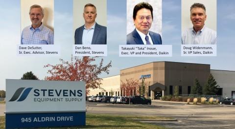 "Daikin North America LLC, a subsidiary of Daikin Industries, Ltd. ""DIL"", the world's largest manufacturer of heating, cooling, and refrigerant products, has announced the purchase of Stevens Equipment Supply. (l-r) David DeSutter, Sr. Exec. Advisor, Stevens; Dan Beno, President, Stevens; Takayuki ""Taka"" Inoue, Exec. VP and President, Daikin; Doug Widenmann, Sr. VP Sales, Daikin. (Photo: Business Wire)"