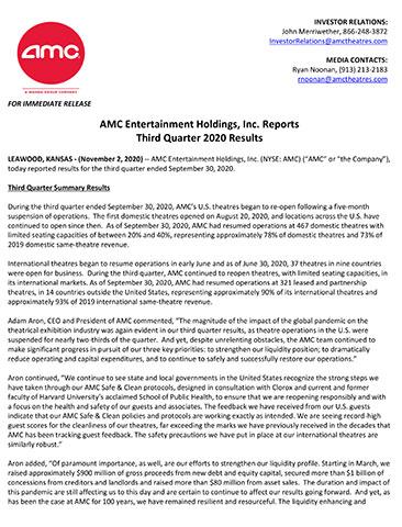 AMC Entertainment Holdings, Inc. Third Quarter 2020 Earnings