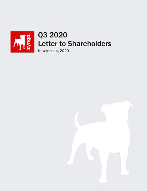 ZYNGA ANNOUNCES THIRD QUARTER 2020 FINANCIAL RESULTS