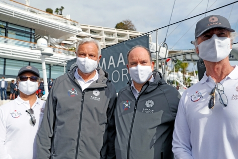 (L-R) AMAALA CEO Nicholas Naples; OceanoScientific Expedition Director Yvan Griboval; HSH Prince Albert II of Monaco; AMAALA CSO Brendan Jack (Photo: AETOSWire)