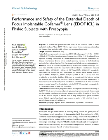 """An EVO Viva™ clinical paper, """"Performance and Safety of the Extended Depth of Focus Implantable Collamer® Lens (EDOF ICL) in Phakic Subjects with Presbyopia,"""" published in the peer-reviewed journal, Clinical Ophthalmology, September 2020. (Graphic: Business Wire)"""