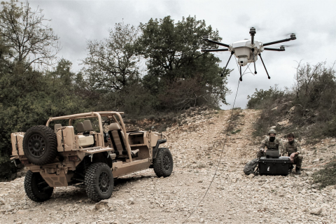 Demonstrating the Orion 2 tethered hexacopter. (Photo: Business Wire)
