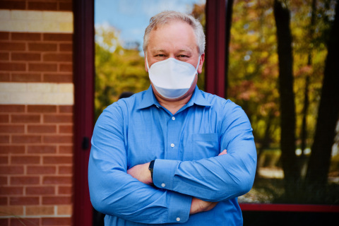 Mike Abbott, director of research and development for HanesBrands, credits the collaboration between the company and its university partners for the quick development of a much-needed mask for health care professionals. (Photo: Business Wire)