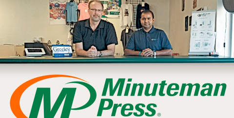 Minuteman Press printing and marketing franchise, Greeley, Colorado – L-R: Norm Kitten and Avi Kumar (owner). (Photo: Business Wire)