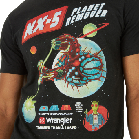 With art never seen anywhere else in the multiverse, the Wrangler x Rick and Morty Collection includes an exclusive, episode-inspired t-shirt featuring the incomparable NX-5 Planet Remover and a custom-designed laser etched jacket. (Photo: Business Wire)