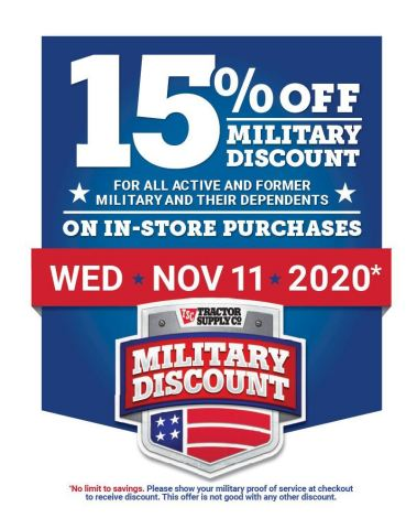 Tractor Supply honors veterans and active service members with annual discount. (Photo: Business Wire)