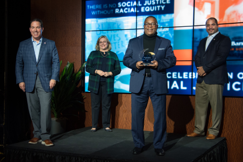Pictured at Eastern Bank's 2020 Celebration of Social Justice are left to right: Bob Rivers, CEO and Chair of the Board of Eastern Bankshares, Inc. and Eastern Bank; Nancy Huntington Stager, President and CEO of the Eastern Bank Charitable Foundation; Robert Lewis, Jr., Founder and President of The BASE and 2020 Social Justice Award Honoree; and Quincy Miller, President of Eastern Bankshares, Inc. and Eastern Bank. Photo Credit: Virginia Sutherland Photo