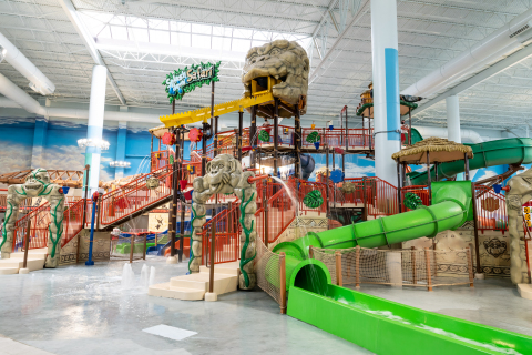The indoor waterpark is 223,000 square feet with 30 waterslides, 20 pools and whirlpools, and attractions like the FlowRider, ZeroVision Wave Pool Experience, Grotto adult swim-up bar, special kids' areas, private cabanas and waterfalls. (Photo: Business Wire)