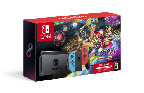 On Black Friday, Nintendo is bundling a Nintendo Switch system with a download code for the digital version of the Mario Kart 8 Deluxe game along with a three-month individual membership to Nintendo Switch Online – the service that lets friends and families play compatible games together online – all in one package. (Photo: Business Wire)