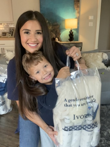 Ivory partnered with TV personality and mom of three, Catherine (Giudici) Lowe, and the nonprofit organization Cool & Dope's seven-year-old Chief Positivity Creator, Cavanaugh Bell, to support the elderly and make their days brighter with Ivory gentle care packs. In celebration of World Kindness Day, Ivory, known for providing a touch of love and kindness, is focused on spreading positivity with the launch of the brand's Acts of Gentle Kindness initiative. (Photo: Business Wire)