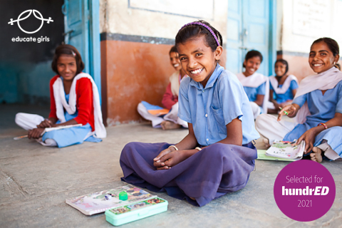 Girls studying in a remote classroom in rural India, with the help of remedial learning curriculum of Educate Girls (Photo: Business Wire)