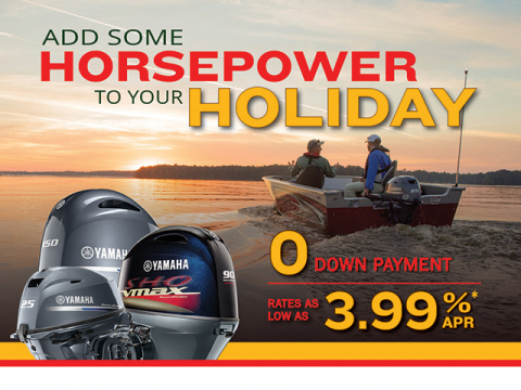 "Yamaha's ""Add Some Horsepower to Your Holiday"" offers qualified repower customers no down payment and rates as low as 3.99% APR for up to 180 months."