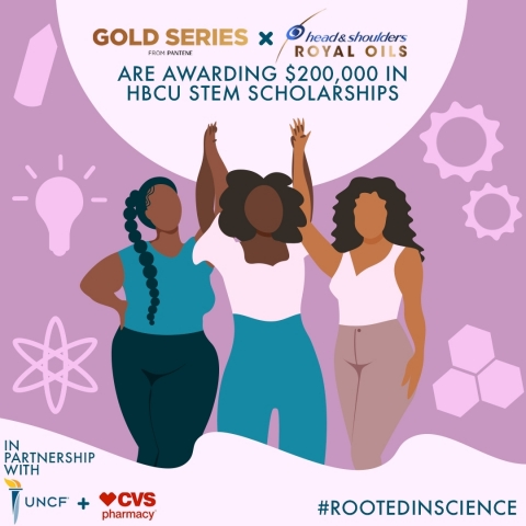 The P&G brands are partnering with CVS and UNCF to award $200,000 in scholarships to Black women pursuing degrees in STEM subjects. (Graphic: Business Wire)