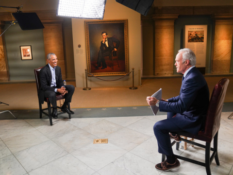 """Former President Barack Obama speaks to Scott Pelley in a """"60 MINUTES"""" interview conducted at the National Portrait Gallery in Washington, D.C. """"AN HOUR WITH PRESIDENT OBAMA"""" PREMIERES TUESDAY, NOVEMBER 17 AT 8 PM ET/PT ON BET & BET HER. (Photo Credit: Eric Kerchner for CBSNews/60 MINUTES)"""