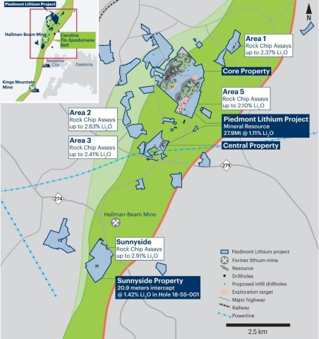 Piedmont Lithium Project Property Map Showing Mineral Resources, Exploration Targets and Proposed Drillholes (Graphic: Business Wire)