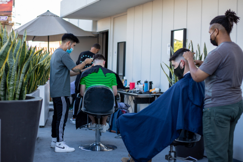 Andaz West Hollywood teamed up with hair experts, Barcode Barbershop, on the hotel's rooftop overlooking the Sunset Strip (Photo: Business Wire)