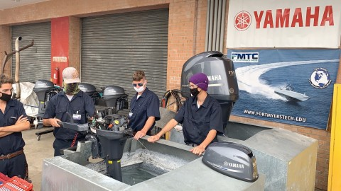 Students at Ft. Myers Technical College work with Yamaha outboards to get hands-on training through Yamaha's Maintenance Certification Program. (Photo: Business Wire)