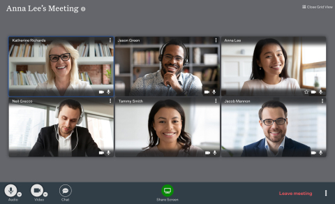 Ooma today announced availability of the Ooma Meetings video collaboration platform as part of its Ooma Office Pro business phone service. Unlike many other videoconferencing systems, Ooma Meetings (www.ooma.com/small-business-phone-systems/video-conferencing/) makes it easy for multiple users to share their screens simultaneously. One user can share a spreadsheet, for example, while another user shares a presentation slide and a third user shares a document. Participants can click on the shared screen of their choice to easily view it in the main window. (Graphic: Business Wire)