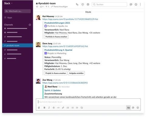 Mit der aktualisierten Asana für Slack-Integration können Teams Meilensteine, Projekte und Portfolios als eingebettete Links innerhalb von Slack-Channels teilen.