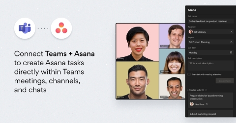 With the expanded Asana for Microsoft Teams integration, customers can now create tasks directly within Microsoft's recently launched Teams meetings feature, ensuring that key action items are reflected in Asana in just a few clicks. (Graphic: Business Wire)
