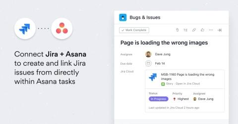 Asana for Atlassian Jira (Server Edition) enables teams to create and link Jira issues from directly within Asana tasks, and receive updates on open Jira issues - whether they're working in the cloud or on-premise. (Graphic: Business Wire)