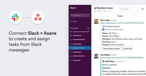 With the updated Asana for Slack integration, teams can share milestones, projects and portfolios as unfurls within Slack channels. (Graphic: Business Wire)
