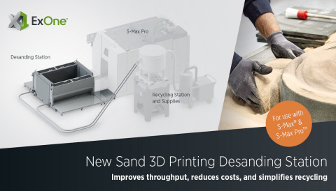 The new semi-automatic desanding station from ExOne can be installed on all new or prior-model S-Max® and S-Max Pro™ industrial sand 3D printers. The station accelerates the removal of parts from the build box by 50% over manual methods, improving throughput speeds, reducing costs, and simplifying recycling of sand. (Photo: Business Wire)