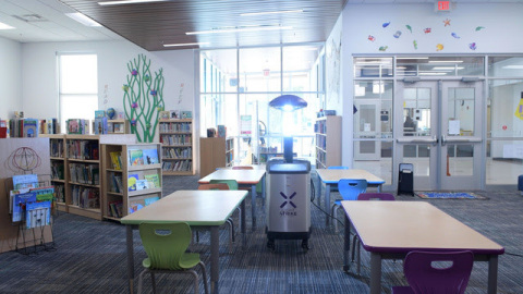 The Ruidoso Municipal School District is the first school system in the world to deploy Xenex LightStrike Germ-Zapping Robots, which are proven to deactivate SARS-CoV-2, the virus that causes COVID-19, in two minutes. The robots are disinfecting classrooms, libraries, offices, cafeterias, restrooms, locker rooms, gymnasiums, and more. (Photo: Business Wire)