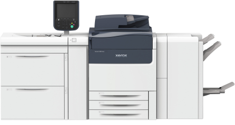 The Xerox Versant 280 is faster than any competitor in printing heavy stocks. Customers can print a million specialty colors using an Adaptive CMYK+ kit that leverages white, gold, silver, clear and fluorescents, unique to Xerox in this class of products. (Photo: Business Wire)