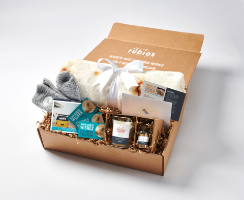 """Rubio's is offering a limited-edition """"Peace, Joy & Burritos"""" Gift Box, filled with hand-selected items to enjoy the holidays at home this year. (Photo: Business Wire)"""