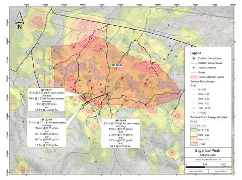 Figure 1. Sugarloaf Peak plan view showing results of recently completed Phase 1 drill program (Graphic: Business Wire)