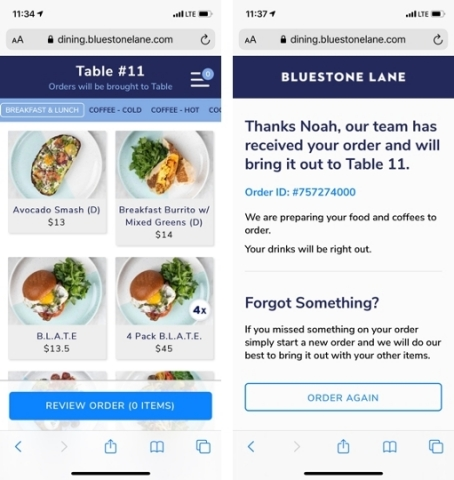 Bluestone Lane built Olo's Dine-In functionality into a custom front-end with a development partner. (Photo: Business Wire)