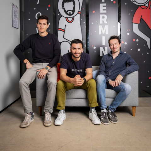 De drie medeoprichters van Satispay: Dario Brignone (IT and Organisation), Alberto Dalmasso (CEO), Samuele Pinta (COO) (Photo: Business Wire)