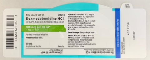 Fresenius Kabi is voluntarily recalling one lot of Dexmedetomidine Hydrochloride Injection in 0.9% Sodium Chloride Injection, 200 mcg 50 mL (4 mcg mL), 50 mL fill in a 50 mL vial due to trace amounts of Lidocaine being present in the product. (Photo: Business Wire)